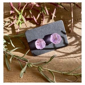 Light Amethyst Raw Crystal Stud Earrings